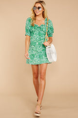 3 My Promenade Kelly Green Floral Print Dress at reddressboutique.com