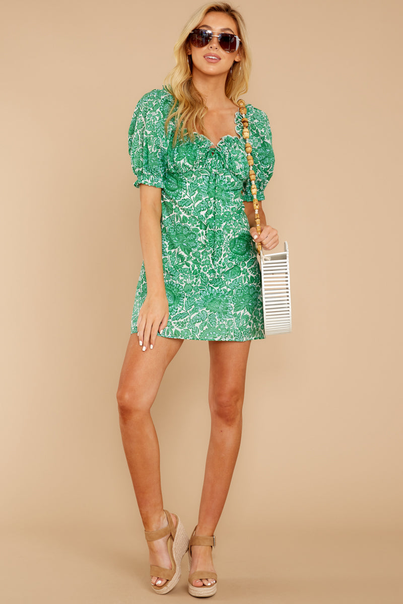 4 My Promenade Kelly Green Floral Print Dress at reddressboutique.com