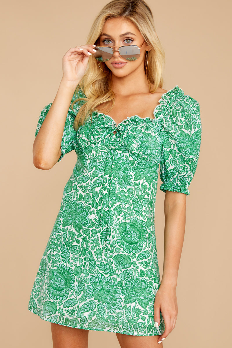 5 My Promenade Kelly Green Floral Print Dress at reddressboutique.com
