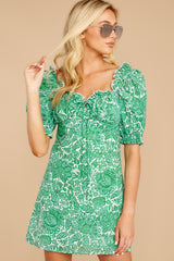 6 My Promenade Kelly Green Floral Print Dress at reddressboutique.com