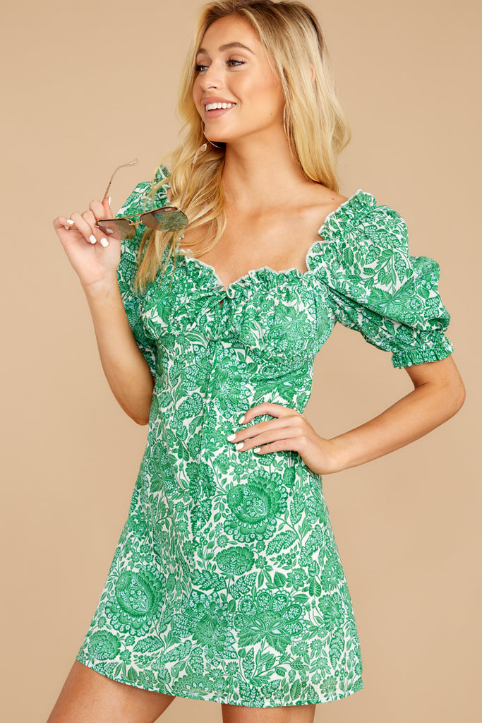1 For The Twirl Of It Olive Green Print Dress at reddressboutique.com