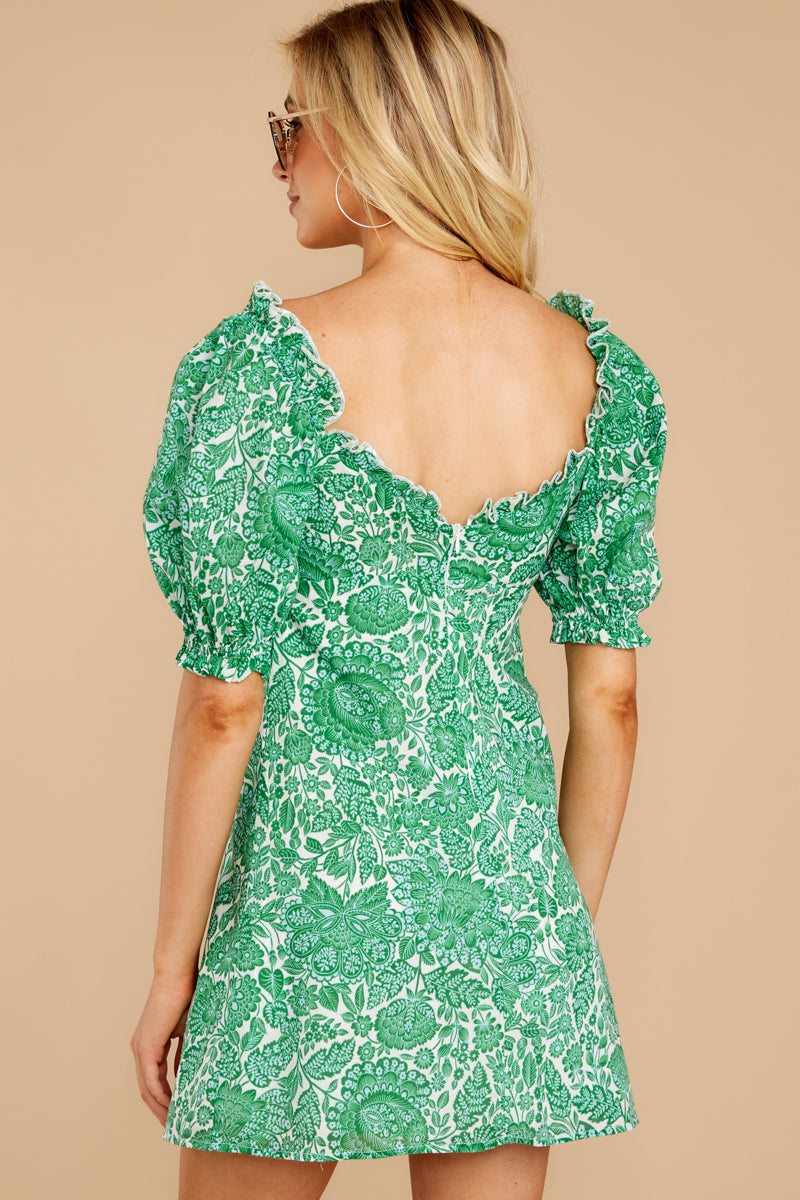 7 My Promenade Kelly Green Floral Print Dress at reddressboutique.com