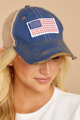 1 American Flag Blue Distressed Hat at reddress.com