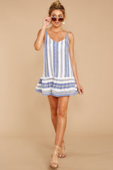 3 Making Changes Coastal Blue Stripe Dress at reddressboutique.com