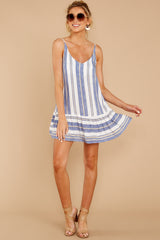4 Making Changes Coastal Blue Stripe Dress at reddressboutique.com