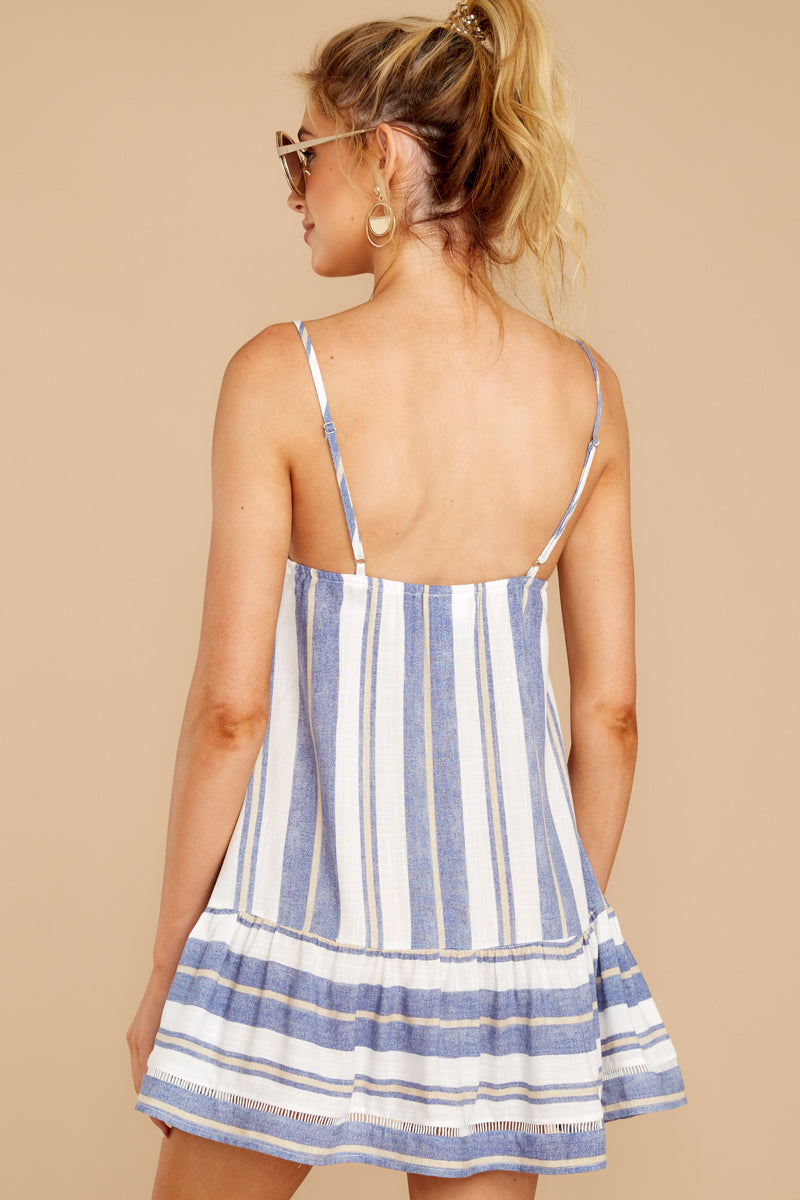 7 Making Changes Coastal Blue Stripe Dress at reddressboutique.com