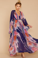 6 Every Fairytale Navy Multi Floral Print Maxi Dress at reddress.com