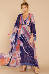 7 Every Fairytale Navy Multi Floral Print Maxi Dress at reddress.com