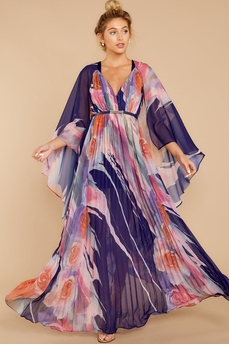 5 Every Fairytale Navy Multi Floral Print Maxi Dress at reddress.com