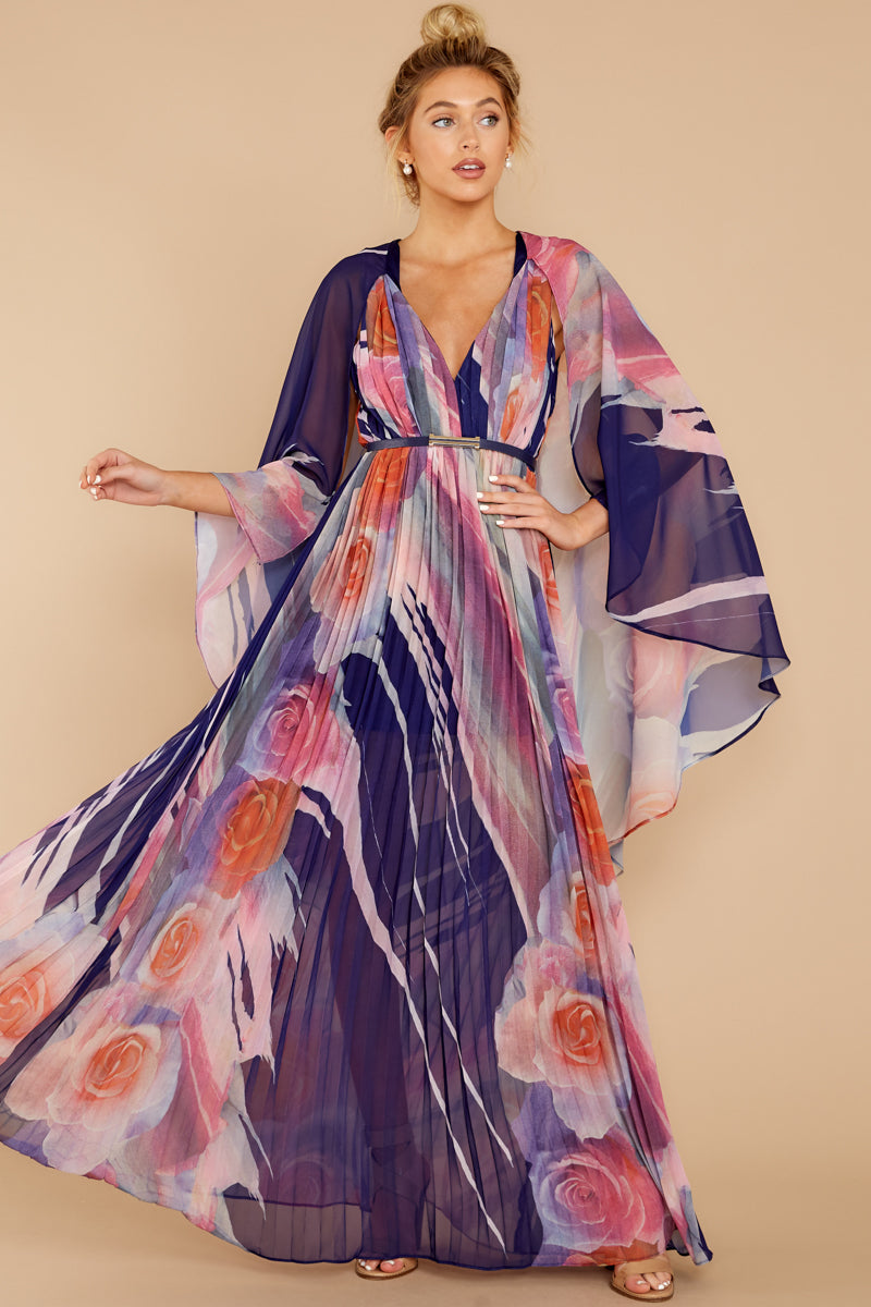 4 Every Fairytale Navy Multi Floral Print Maxi Dress at reddressboutique.com