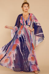 8 Every Fairytale Navy Multi Floral Print Maxi Dress at reddress.com