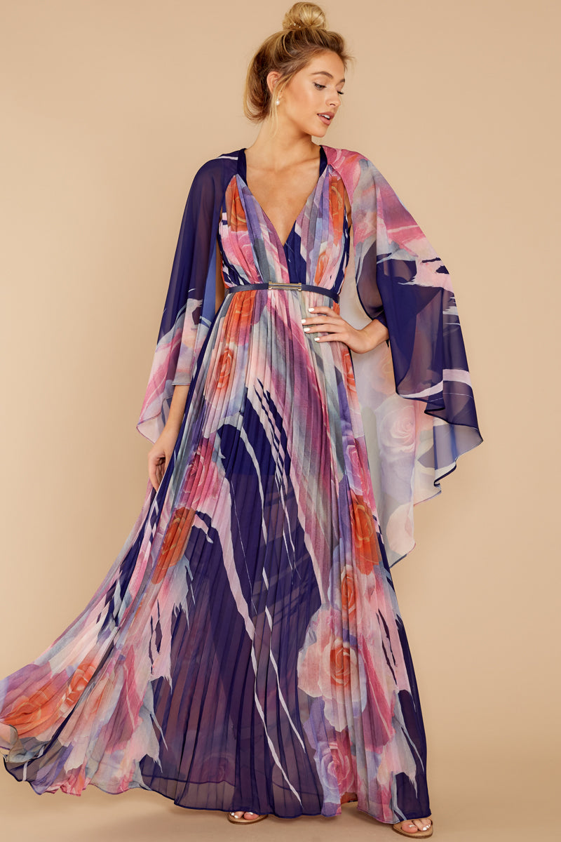 5 Every Fairytale Navy Multi Floral Print Maxi Dress at reddressboutique.com