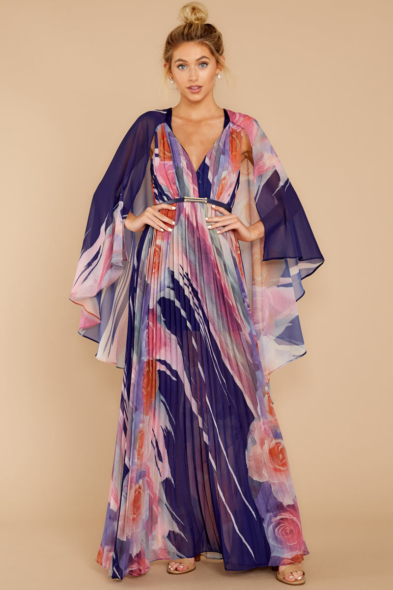 10 Every Fairytale Navy Multi Floral Print Maxi Dress at reddress.com