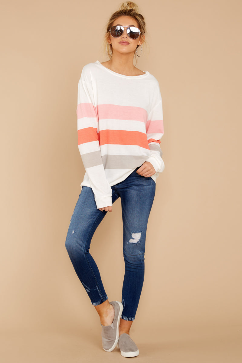 2 Back To Comfort Pink Multi Stripe Pullover at reddressboutique.com