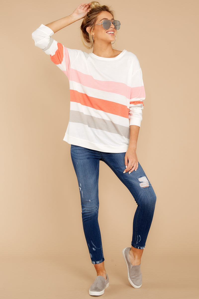 1 Back To Comfort Pink Multi Stripe Pullover at reddressboutique.com