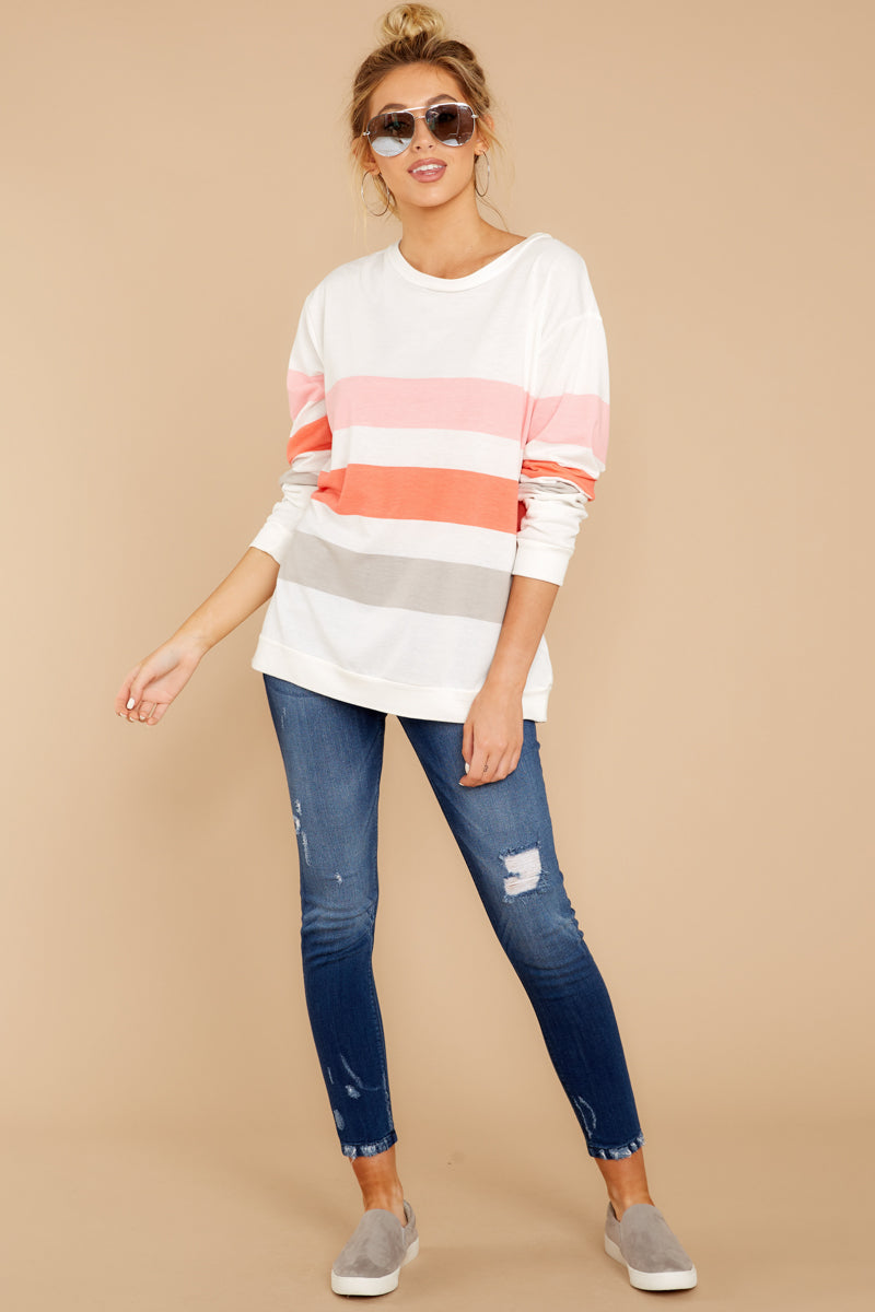 3 Back To Comfort Pink Multi Stripe Pullover at reddressboutique.com
