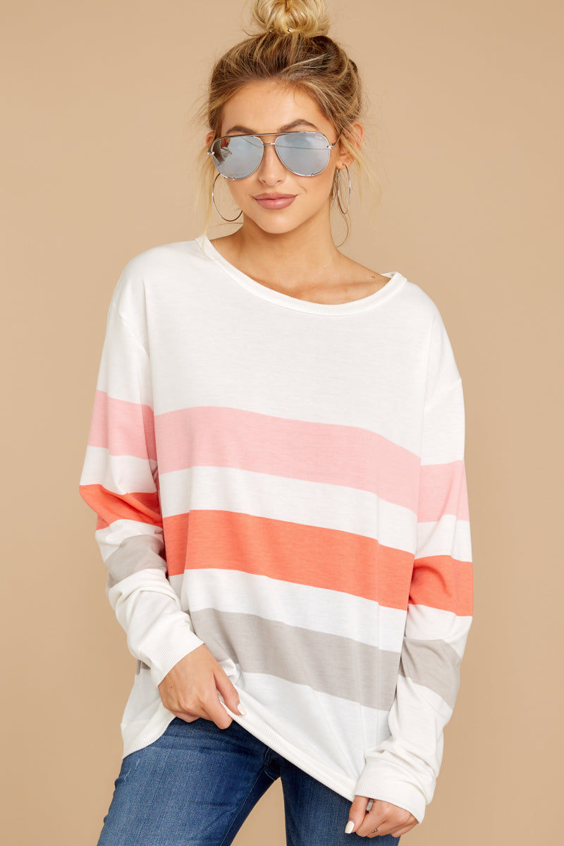 4 Back To Comfort Pink Multi Stripe Pullover at reddressboutique.com