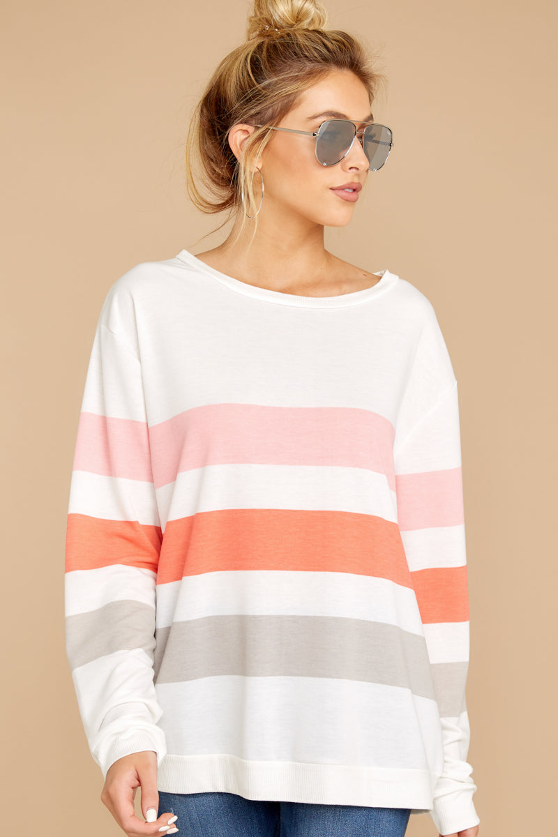 5 Back To Comfort Pink Multi Stripe Pullover at reddressboutique.com