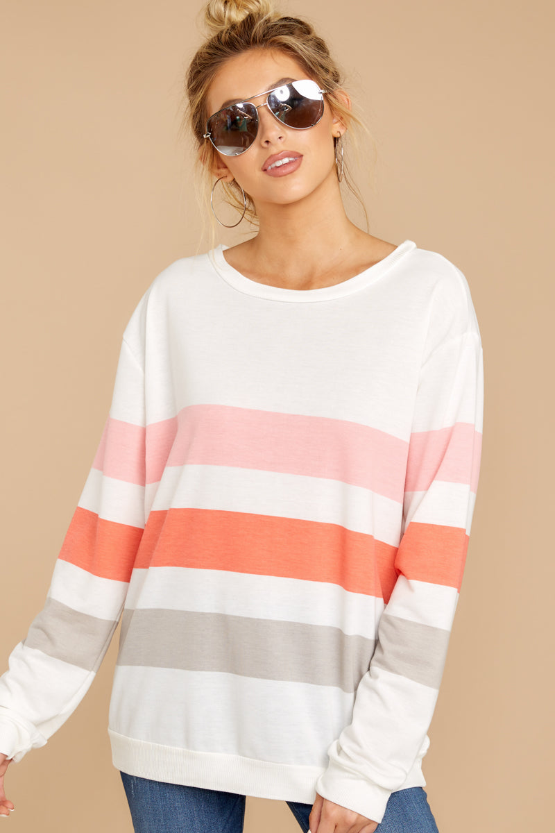 6 Back To Comfort Pink Multi Stripe Pullover at reddressboutique.com