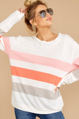 7 Back To Comfort Pink Multi Stripe Pullover at reddressboutique.com