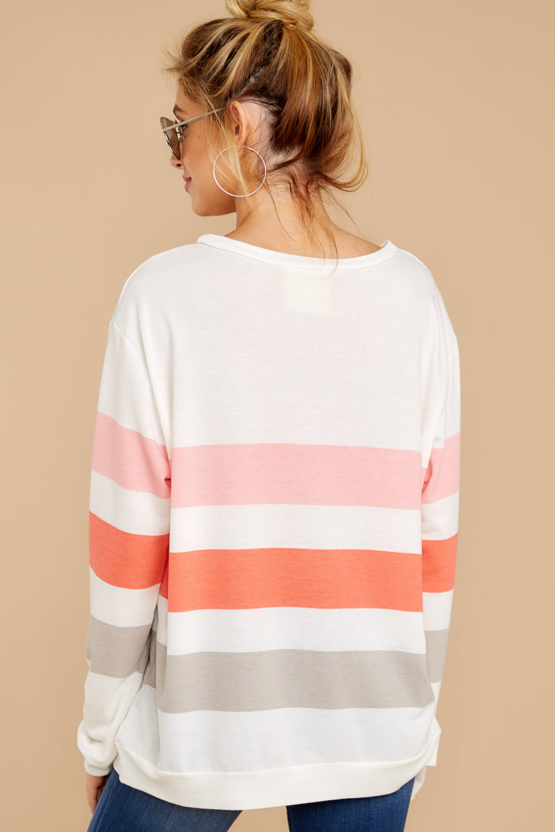 8 Back To Comfort Pink Multi Stripe Pullover at reddressboutique.com
