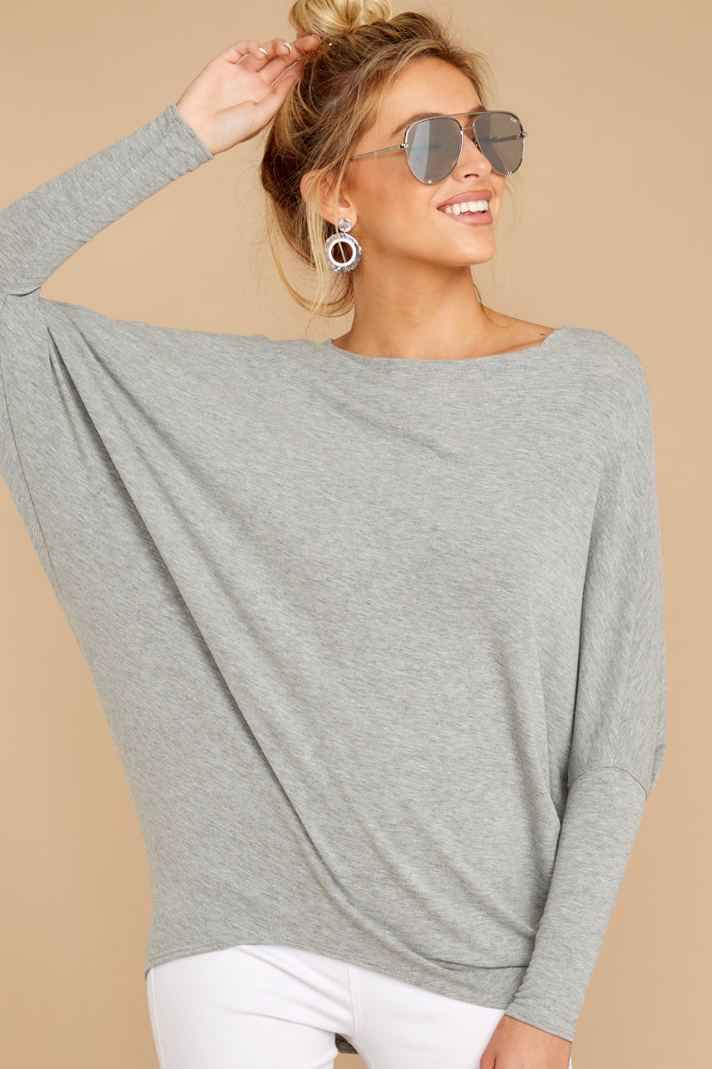 4 Take The Long Road Heather Grey Top at reddress.com