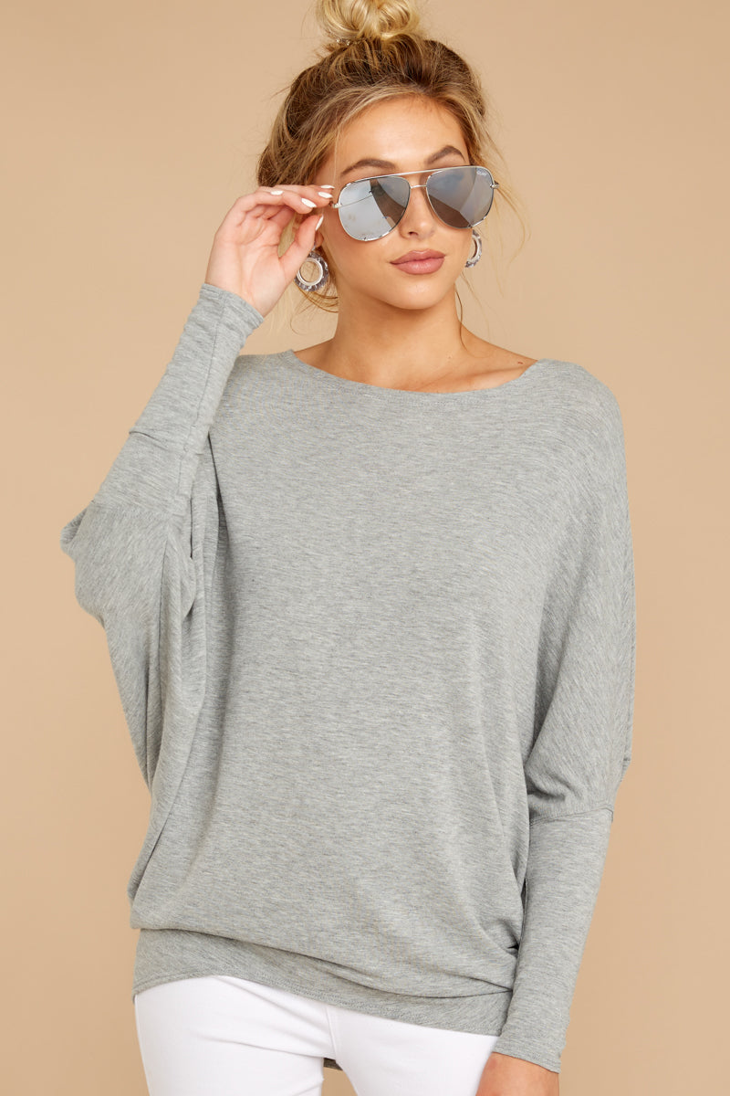 6 Take The Long Road Heather Grey Top at reddress.com
