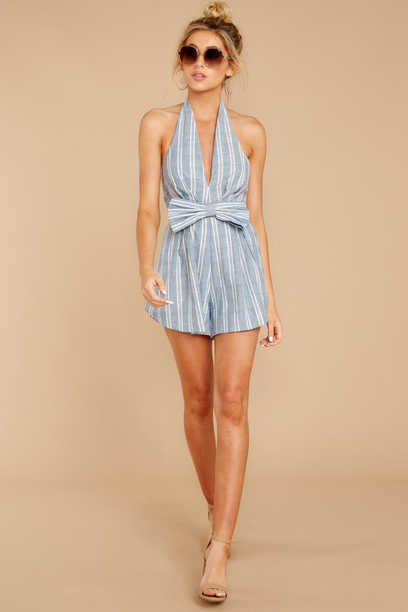 2 Background Music Playing Dusty Blue Stripe Romper at reddressboutique.com