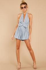 3 Background Music Playing Dusty Blue Stripe Romper at reddressboutique.com