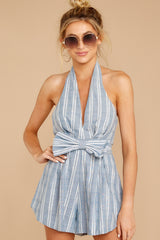 4 Background Music Playing Dusty Blue Stripe Romper at reddressboutique.com