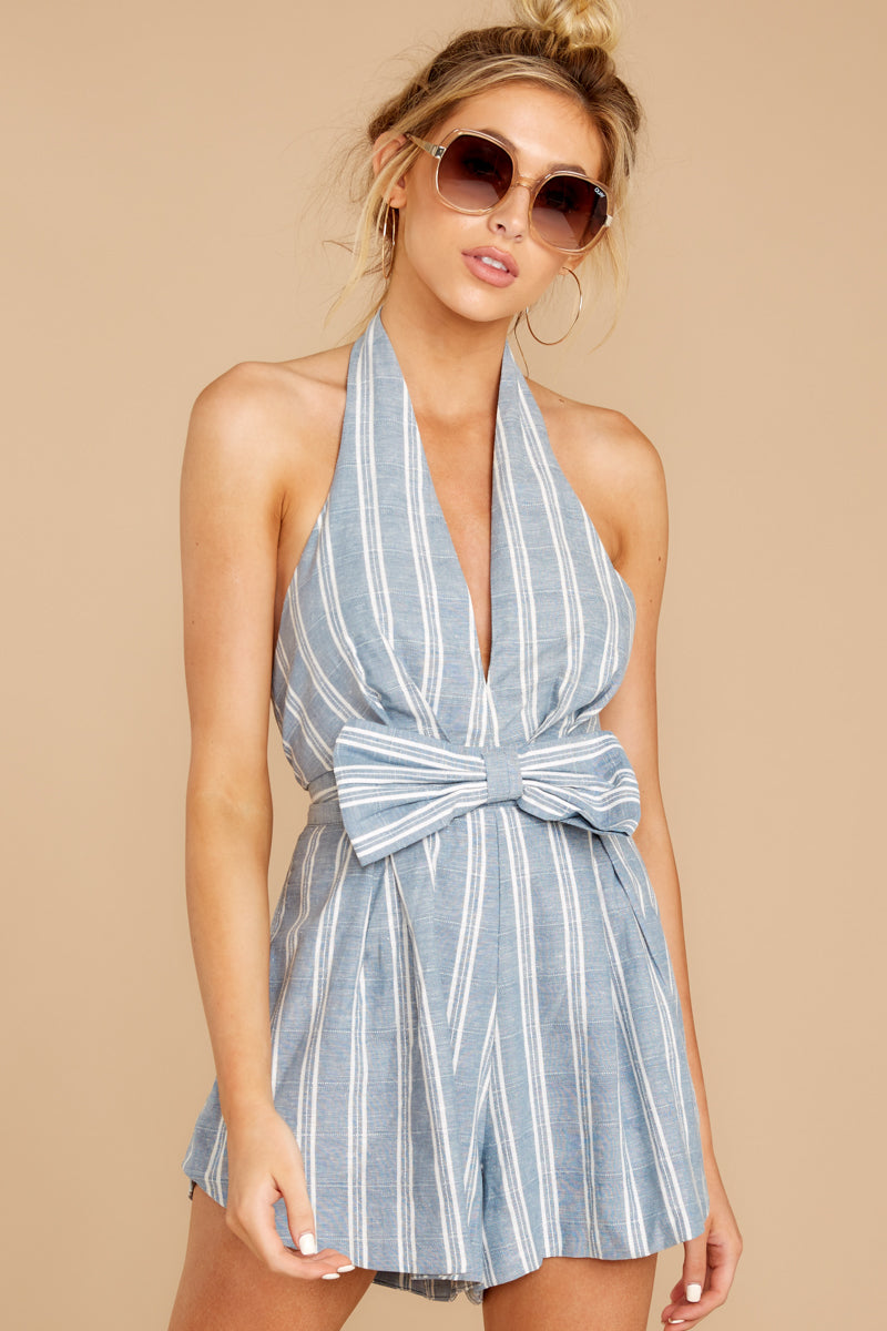 1 Background Music Playing Dusty Blue Stripe Romper at reddressboutique.com