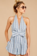 5 Background Music Playing Dusty Blue Stripe Romper at reddressboutique.com