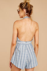 6 Background Music Playing Dusty Blue Stripe Romper at reddressboutique.com