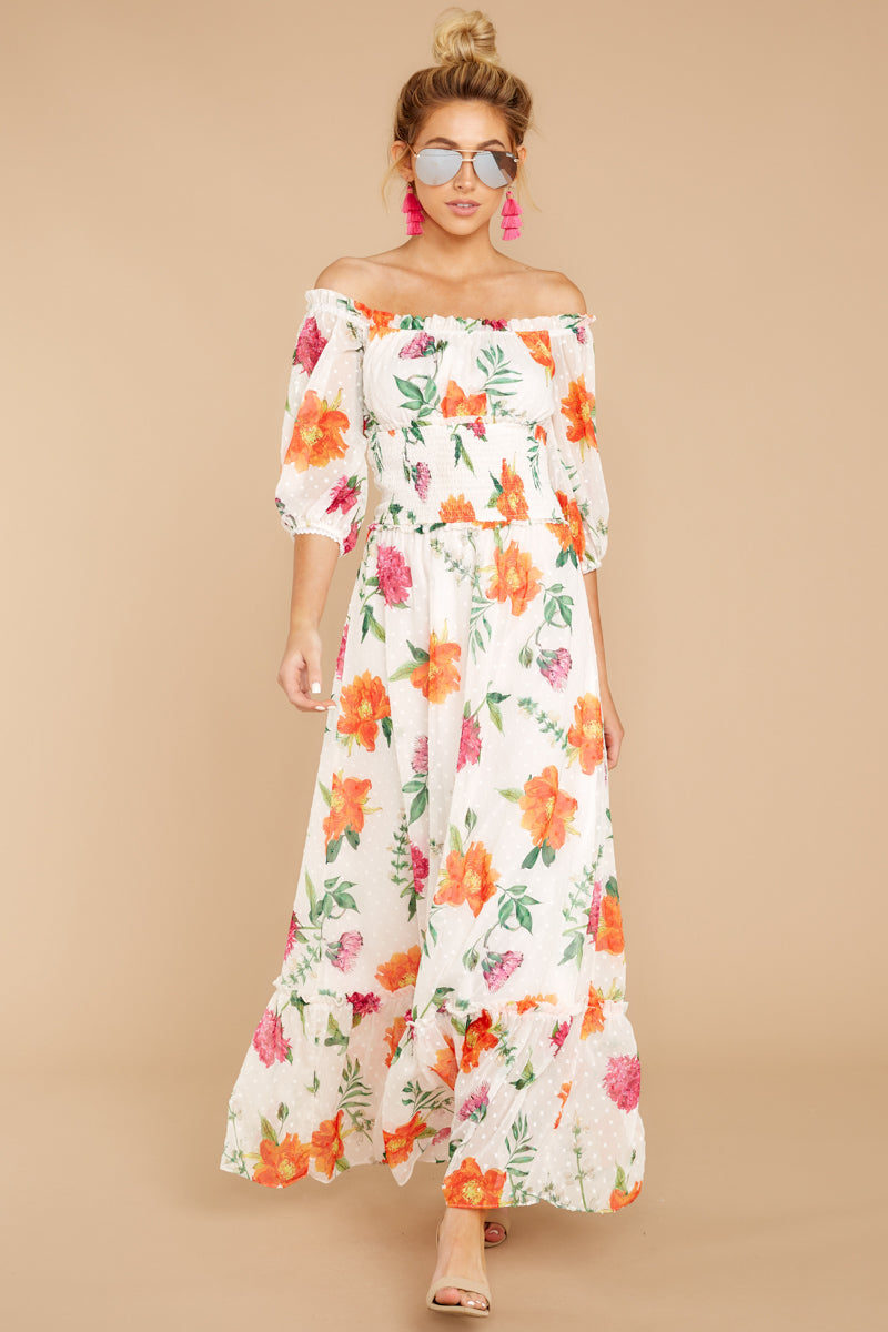d090b335 Lovely White Floral Print Maxi - Off The Shoulder Maxi - Dress - $56 ...