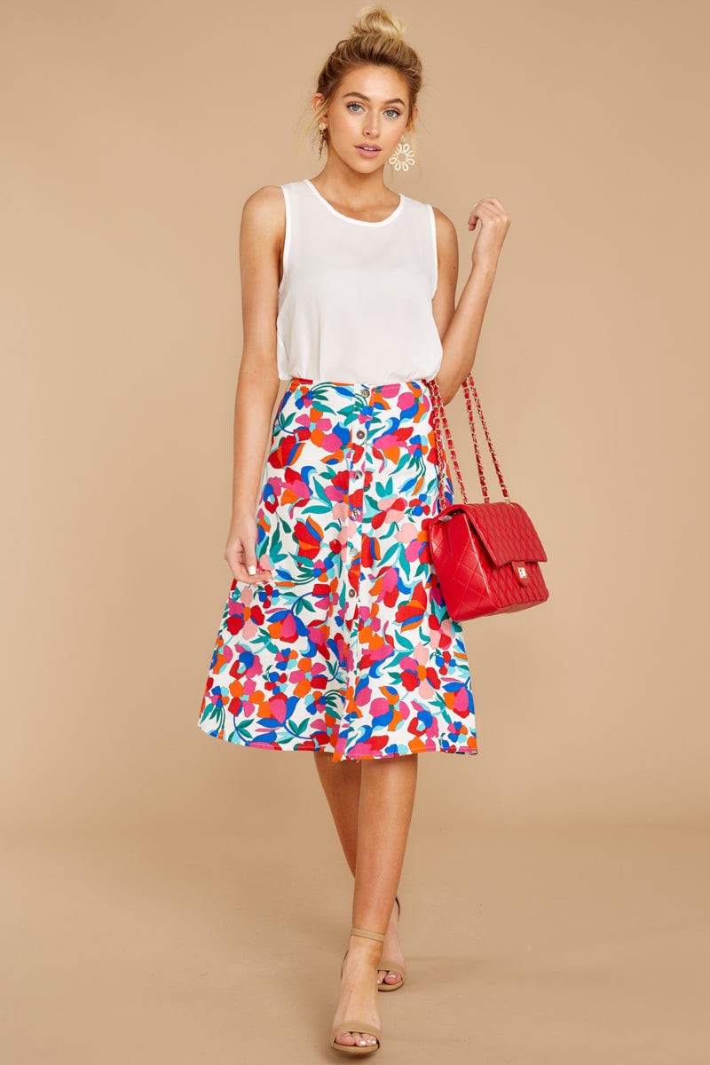 Blooming With Love Red Floral Midi Skirt