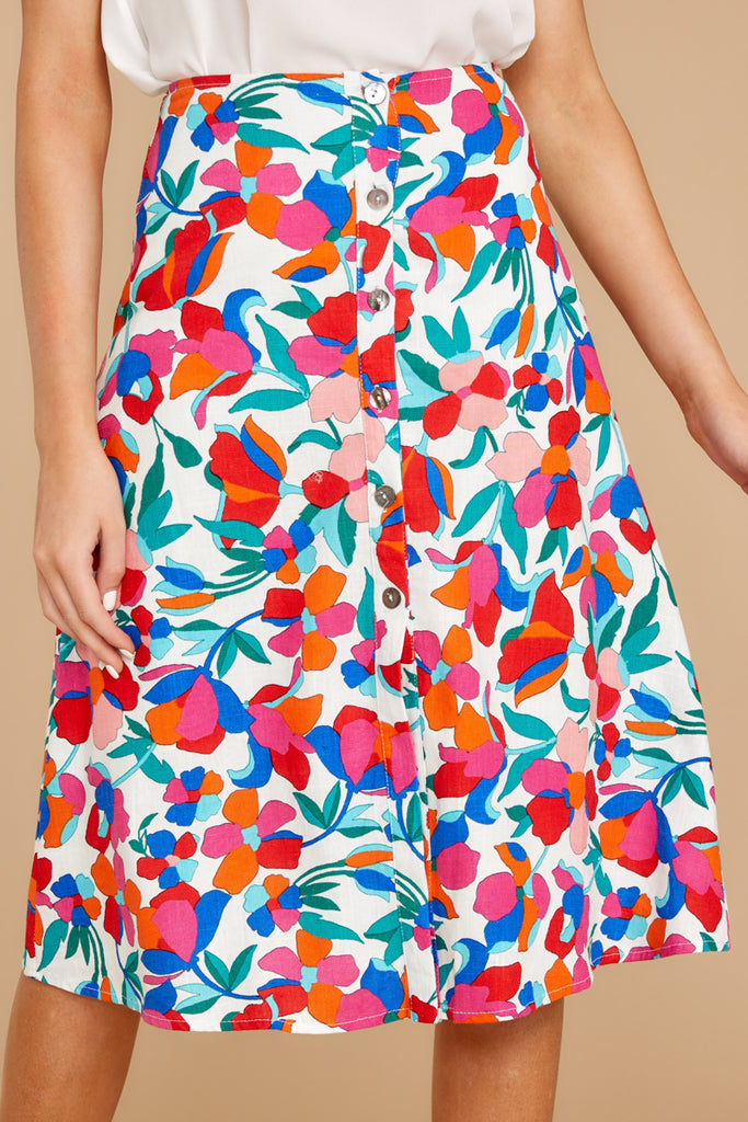f4eb1294ec2 Blooming With Love Red Floral Midi Skirt