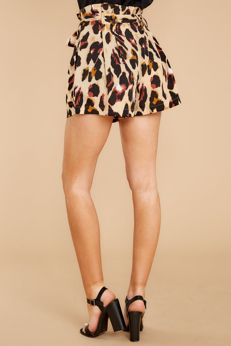 3 Right On Prowl Leopard Print Shorts at reddressboutique.com
