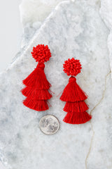 2 Have It All Red Tassel Statement Earrings at reddressboutique.com