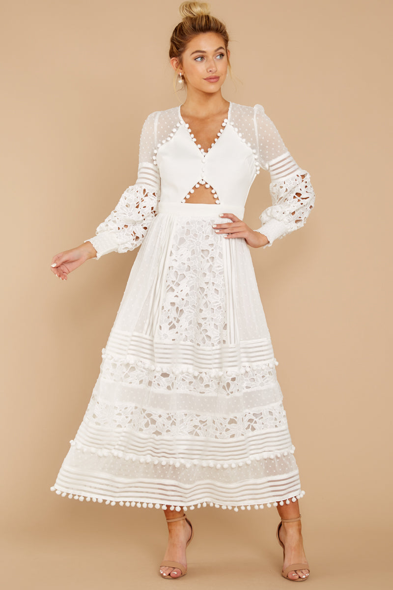 3 All For Hope White Lace Maxi Dress at reddressboutique.com
