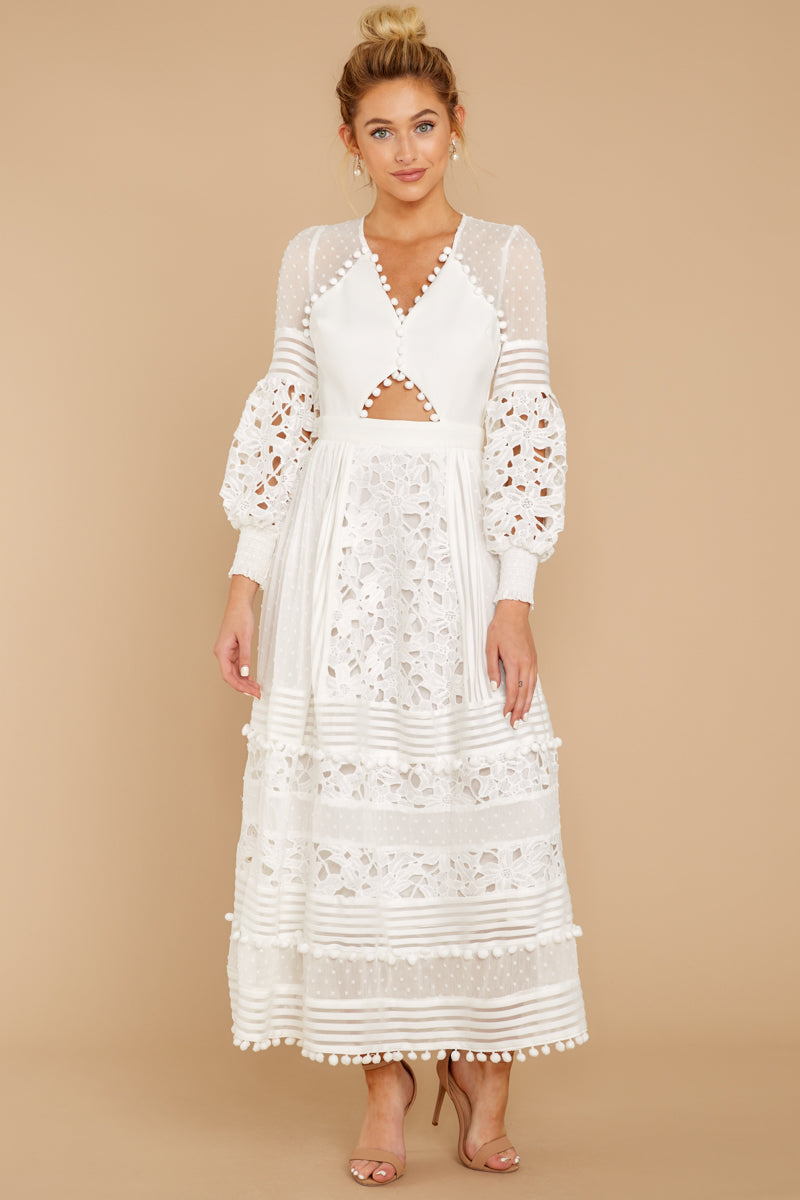 4 All For Hope White Lace Maxi Dress at reddressboutique.com