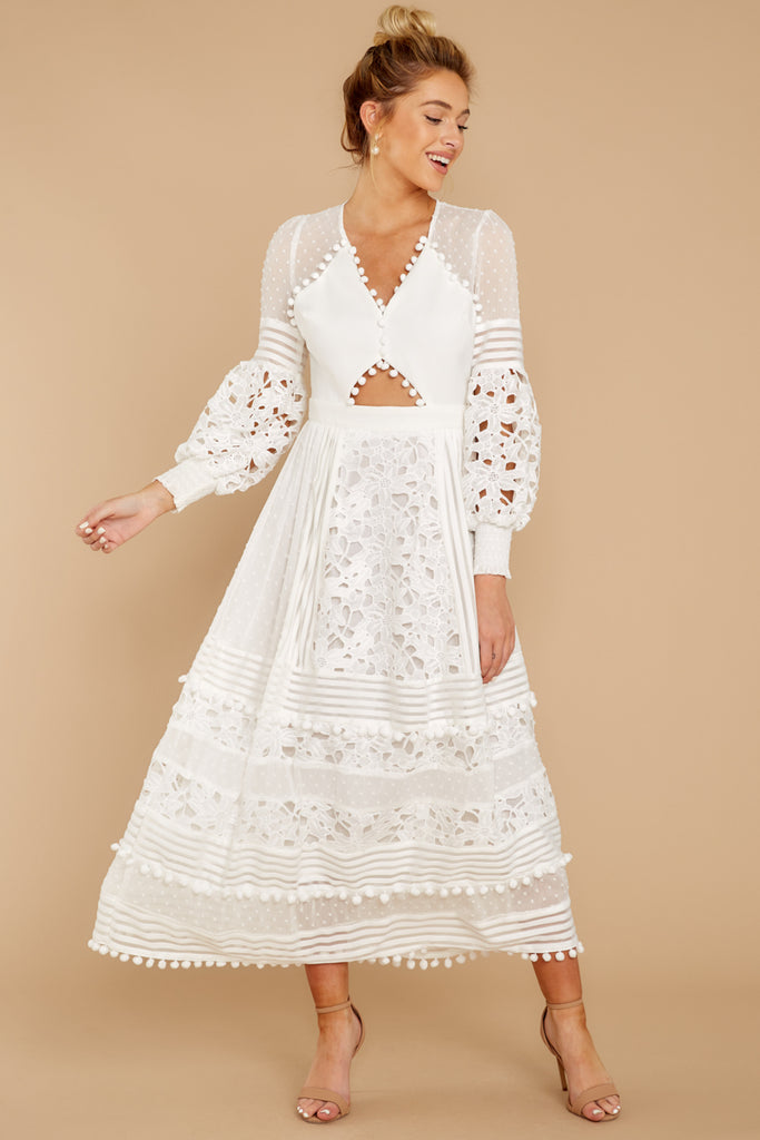 1 One Day Soon White Lace Midi Dress at reddressboutique.com