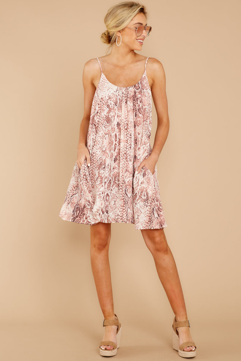 2 Follow Along With Me Pink Snake Print Dress at reddressboutique.com