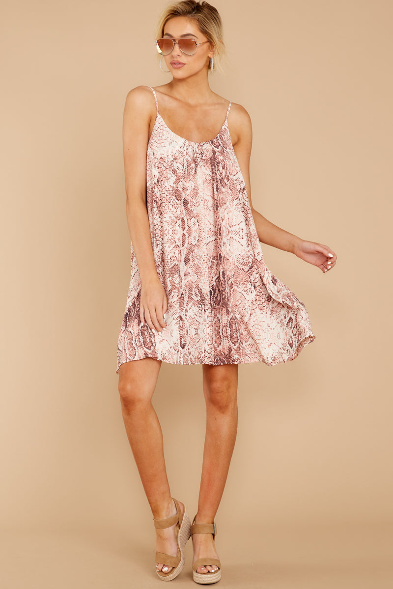 1 Follow Along With Me Pink Snake Print Dress at reddressboutique.com