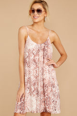 5 Follow Along With Me Pink Snake Print Dress at reddressboutique.com