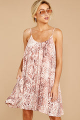 6 Follow Along With Me Pink Snake Print Dress at reddressboutique.com