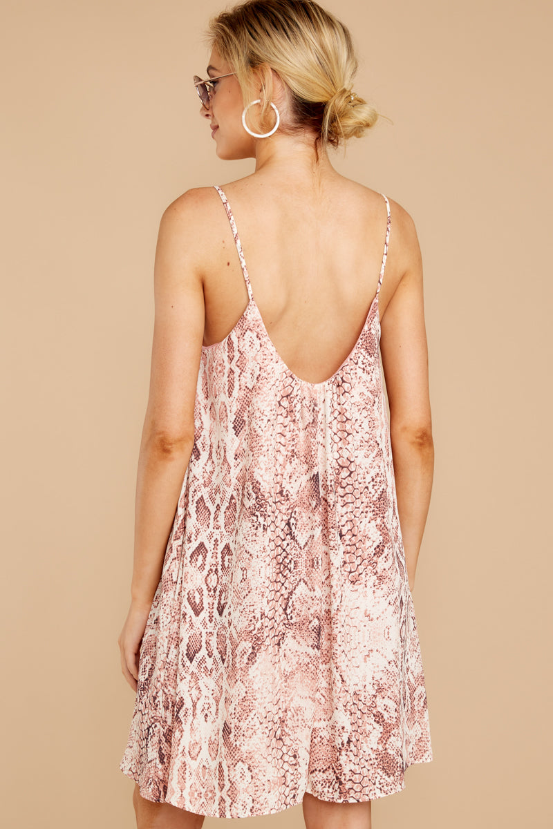 7 Follow Along With Me Pink Snake Print Dress at reddressboutique.com
