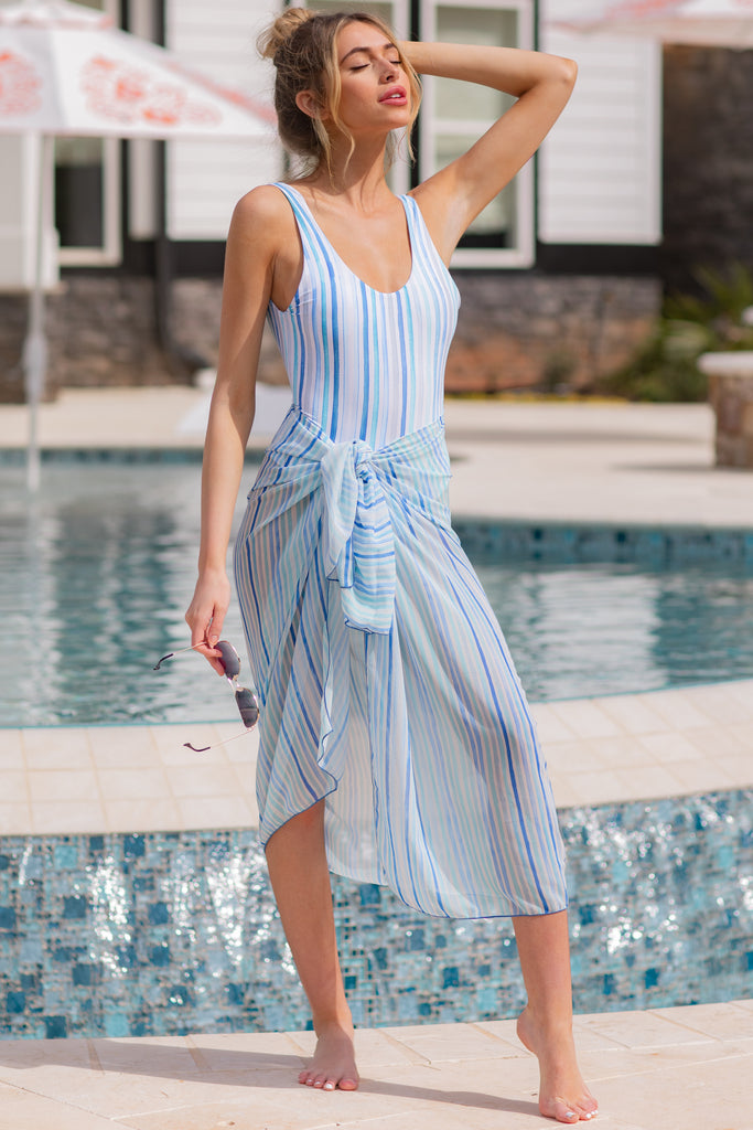 1 Kissed By Sunshine Blue Multi Seaside Stripe One Piece at reddress.com