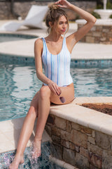 Feeling Salty Blue Multi Seaside Stripe One Piece Swimsuit