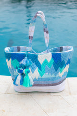 Motion Of The Ocean Blue Print Tote Bag