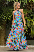 General Print Summer Halter Open-Back Hidden Back Zipper Slit Rayon Maxi Dress